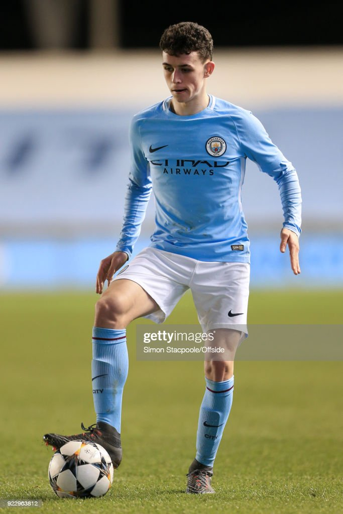 Phil Foden of Man City in action during the UEFA Youth League Round of 16 match between Manchester City and Inter Milan at Manchester City Football Academy on February 20, 2018 in Manchester, England.