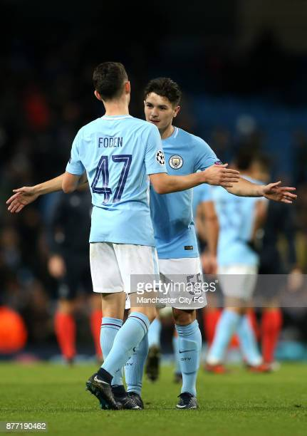 Phil Foden of Manchester City and Brahim Diaz of Manchester City hug after the UEFA Champions League group F match between Manchester City and...