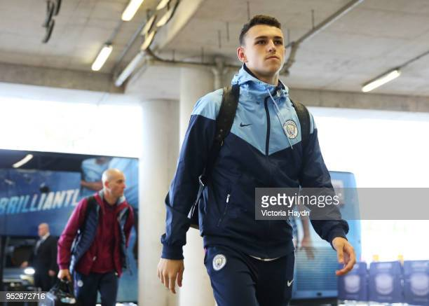 Phil Foden of Manchester City arrives at the stadium prior to the Premier League match between West Ham United and Manchester City at London Stadium...