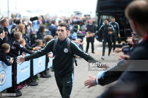 Phil Foden of Manchester City arrives prior to the UEFA Champions League Quarter Final Second Leg match between Manchester City and Liverpool at...