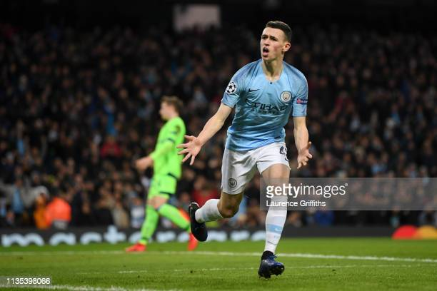 Phil Foden of Manchester City celebrates after he scores his team's sixth goal during the UEFA Champions League Round of 16 Second Leg match between...