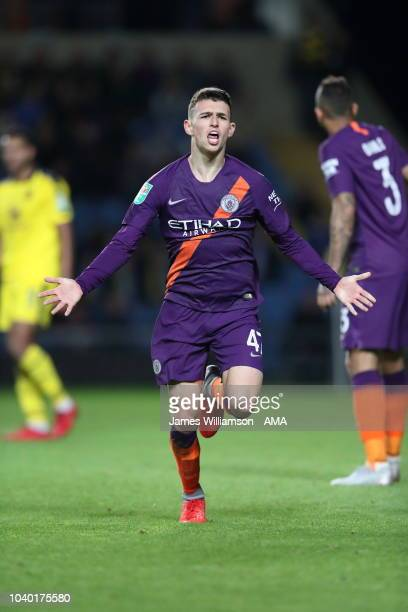 Phil Foden of Manchester City celebrates after scoring a goal to make it 30 during the Carabao Cup Third Round match between Oxford United and...