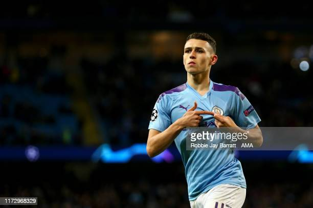 Phil Foden of Manchester City celebrates after scoring a goal to make it 2-0 during the UEFA Champions League group C match between Manchester City...