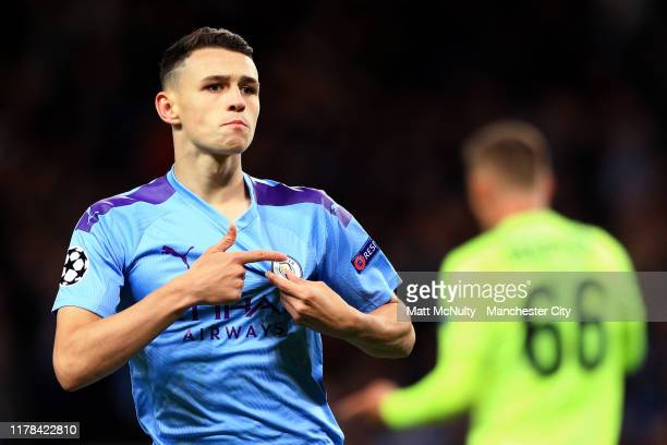 Phil Foden of Manchester City celebrates after scoring his team's second goal during the UEFA Champions League group C match between Manchester City...