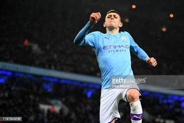 Phil Foden of Manchester City celebrates his goal during the FA Cup Third Round match between Manchester City and Port Vale at Etihad Stadium on...