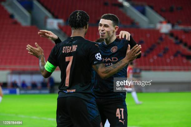 Phil Foden of Manchester City celebrates his goal with Raheem Sterling of Manchester City during the UEFA Champions League Group C stage match...