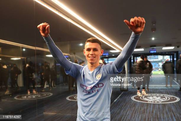 Phil Foden of Manchester City celebrates in the tunnel after his team's victory in the FA Cup Third Round match between Manchester City and Port Vale...