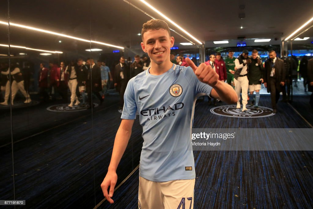Phil Foden of Manchester City celebrates in the tunnel after the UEFA Champions League group F match between Manchester City and Feyenoord at Etihad Stadium on November 21, 2017 in Manchester, United Kingdom.