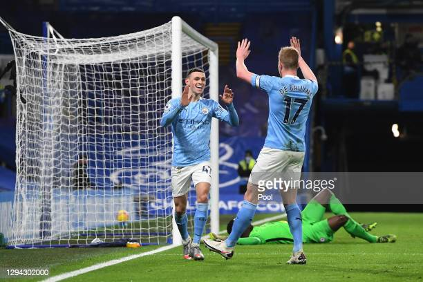 Phil Foden of Manchester City celebrates with team mate Kevin De Bruyne after scoring their sides second goal during the Premier League match between...