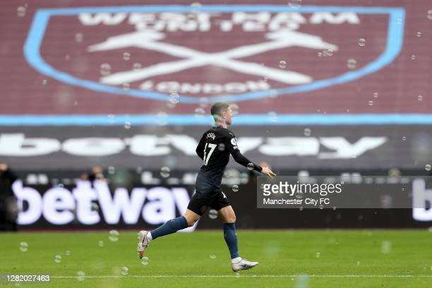 Phil Foden of Manchester City comes on as a substitute during the Premier League match between West Ham United and Manchester City at London Stadium...