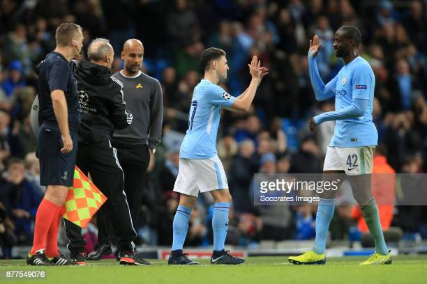 Phil Foden of Manchester City comes on as a substitute to replace Yaya Toure during the UEFA Champions League match between Manchester City v...