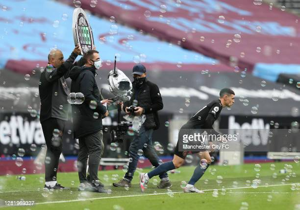 Phil Foden of Manchester City comes on the pitch during the Premier League match between West Ham United and Manchester City at London Stadium on...