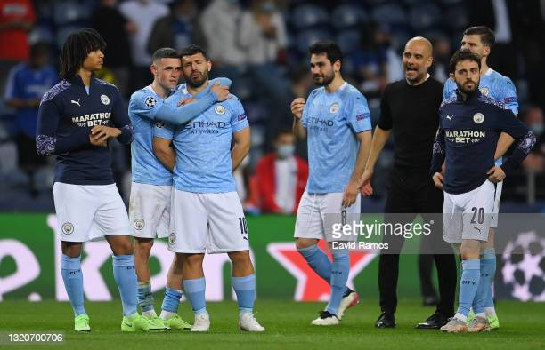 Phil Foden of Manchester City consoles teammate Sergio Aguero after defeat during the UEFA Champions League Final between Manchester City and Chelsea...