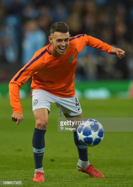 Phil Foden of Manchester City controls the ball during the UEFA Champions League Group F match between Manchester City and Olympique Lyonnais at...