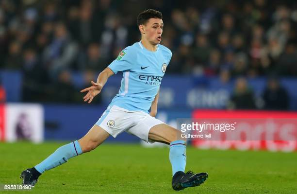 Phil Foden of Manchester City during the Carabao Cup QuarterFinal match between Leicester City and Manchester City at The King Power Stadium on...
