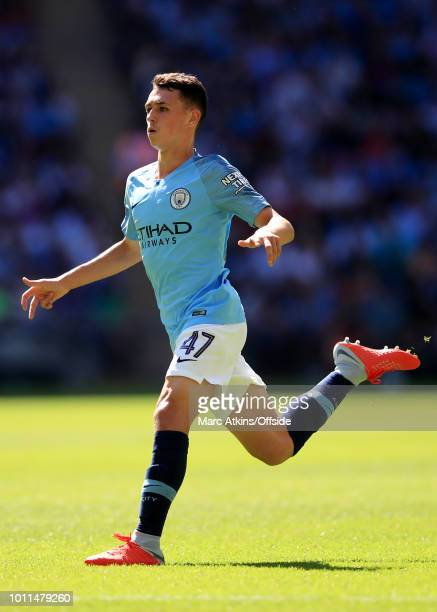 Phil Foden of Manchester City during the FA Community Shield between Manchester City and Chelsea at Wembley Stadium on August 5 2018 in London England