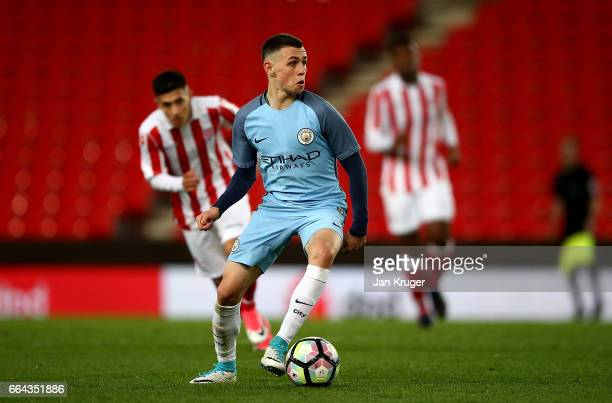 Phil Foden of Manchester City during the FA Youth Cup Semi Final second leg match between Stoke City and Manchester City at Bet365 Stadium on April 3...