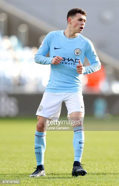 Phil Foden of Manchester City during the Premier League 2 at The Academy Stadium on November 25 2017 in Manchester England