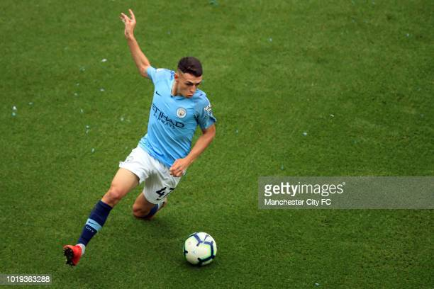 Phil Foden of Manchester City during the Premier League match between Manchester City and Huddersfield Town at Etihad Stadium on August 19 2018 in...