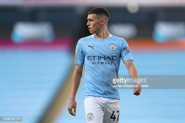 Phil Foden of Manchester City during the Premier League match between Manchester City and Leicester City at Etihad Stadium on September 27 2020 in...