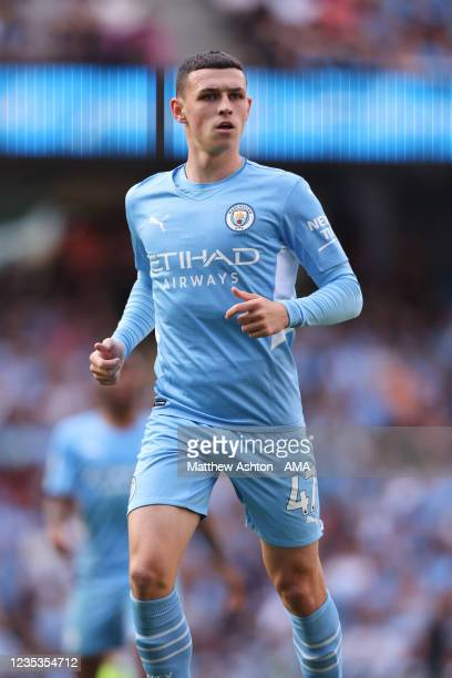 Phil Foden of Manchester City during the Premier League match between Manchester City and Southampton at Etihad Stadium on September 18, 2021 in...