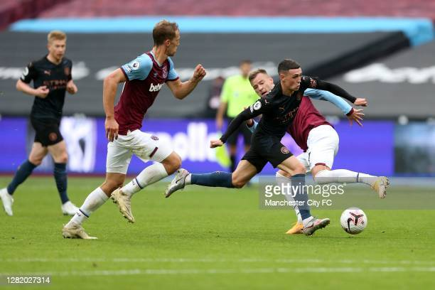 Phil Foden of Manchester City during the Premier League match between West Ham United and Manchester City at London Stadium on October 24 2020 in...