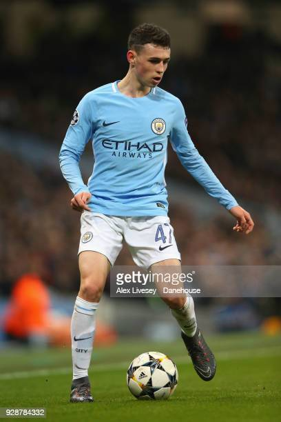 Phil Foden of Manchester City during the UEFA Champions League Round of 16 Second Leg match between Manchester City and FC Basel at Etihad Stadium on...