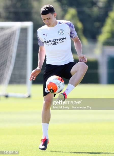 Phil Foden of Manchester City in action during the training session at Manchester City Football Academy on June 01 2020 in Manchester England