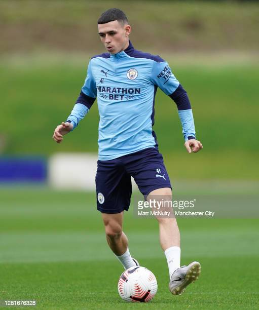 Phil Foden of Manchester City in action during the training session at Manchester City Football Academy on October 22 2020 in Manchester England