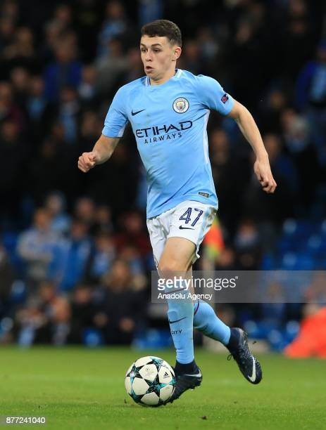 Phil Foden of Manchester City in action during the UEFA Champions League Group F soccer match between Manchester City FC and Feyenoord Rotterdam at...
