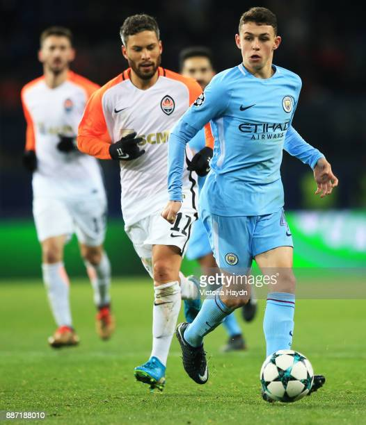 Phil Foden of Manchester City in action during the UEFA Champions League group F match between Shakhtar Donetsk and Manchester City at Metalist...