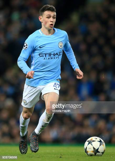 Phil Foden of Manchester City in action during the UEFA Champions League Round of 16 Second Leg match between Manchester City and FC Basel at Etihad...