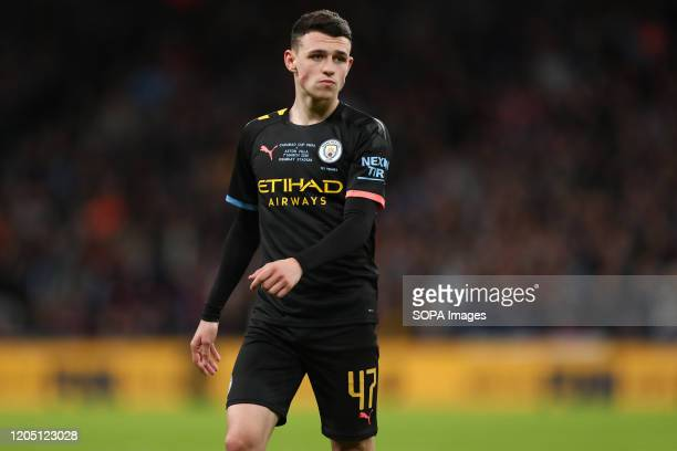 Phil Foden of Manchester City is seen during the Carabao Cup Final match between Aston Villa and Manchester City at Wembley Stadium