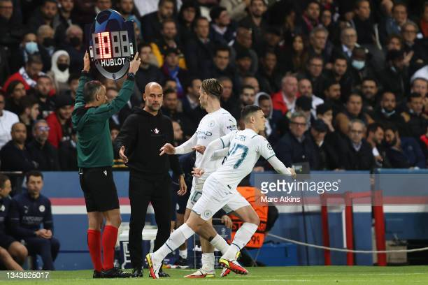 Phil Foden of Manchester City is substituted on as Jack Grealish of Manchester City is substituted off during the UEFA Champions League group A match...