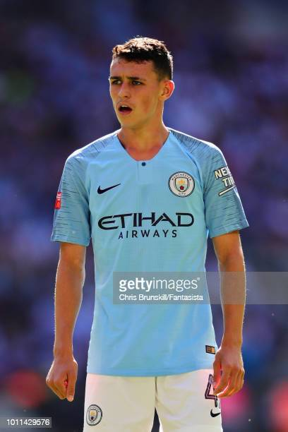 Phil Foden of Manchester City looks on during the FA Community Shield match between Manchester City and Chelsea at Wembley Stadium on August 5 2018...