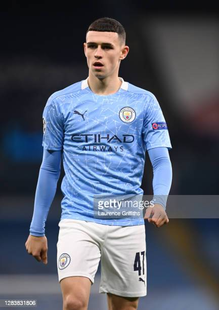 Phil Foden of Manchester City looks on during the UEFA Champions League Group C stage match between Manchester City and Olympiacos FC at Etihad...