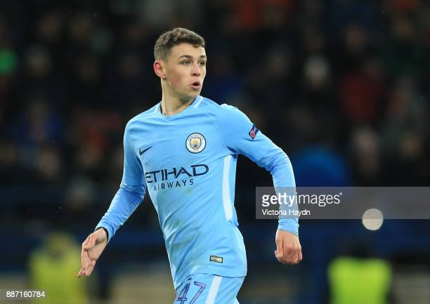 Phil Foden of Manchester City looks on during the UEFA Champions League group F match between Shakhtar Donetsk and Manchester City at Metalist...