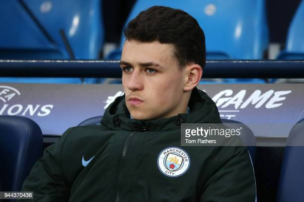 Phil Foden of Manchester City looks on prior to the UEFA Champions League Quarter Final Second Leg match between Manchester City and Liverpool at...