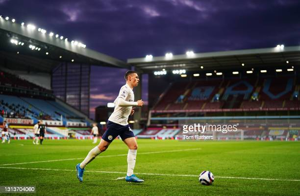 Phil Foden of Manchester City prepares to take a corner during the Premier League match between Aston Villa and Manchester City at Villa Park on...