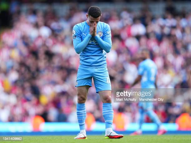 Phil Foden of Manchester City reacts after a disallowed goal during the Premier League match between Manchester City and Southampton at Etihad...
