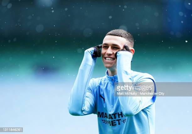 Phil Foden of Manchester City reacts during the Premier League match between Manchester City and Leeds United at Etihad Stadium on April 10, 2021 in...