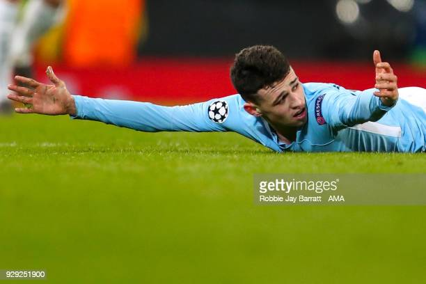 Phil Foden of Manchester City reacts during the UEFA Champions League Round of 16 Second Leg match between Manchester City and FC Basel at Etihad...
