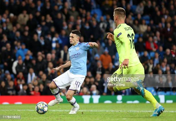 Phil Foden of Manchester City scores his team's second goal during the UEFA Champions League group C match between Manchester City and Dinamo Zagreb...