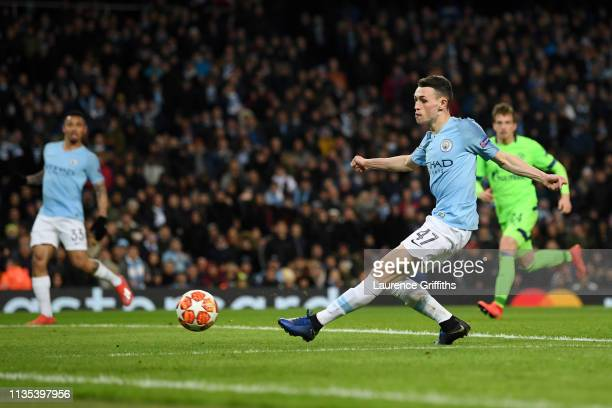 Phil Foden of Manchester City scores his team's sixth goal during the UEFA Champions League Round of 16 Second Leg match between Manchester City v FC...