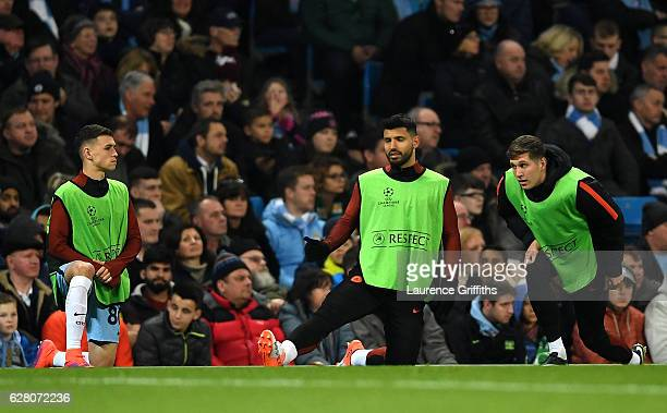 Phil Foden of Manchester City Sergio Aguero of Manchester City and John Stones of Manchester City warm up during the UEFA Champions League Group C...
