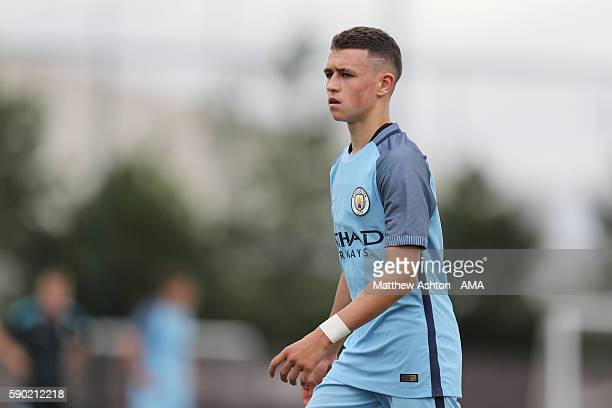 Phil Foden of Manchester City U18 during the U18 Premier League match between Manchester City and West Bromwich Albion at Etihad Campus on August 13...