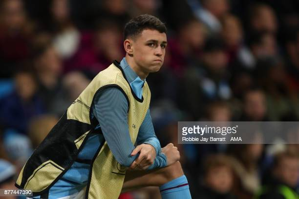 Phil Foden of Manchester City warming up during the UEFA Champions League group F match between Manchester City and Feyenoord at Etihad Stadium on...