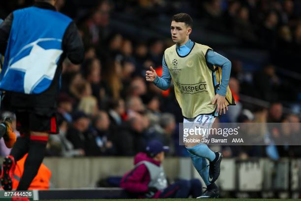 Phil Foden of Manchester City warms up during the UEFA Champions League group F match between Manchester City and Feyenoord at Etihad Stadium on...