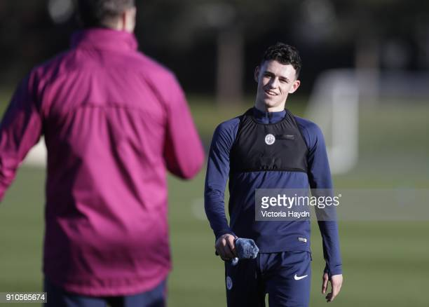 Phil Foden reacts during training at Manchester City Football Academy on January 26 2018 in Manchester England