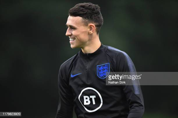 Phil Folden of England U21s trains during an England Media Access day at St Georges Park on October 07, 2019 in Burton-upon-Trent, England.